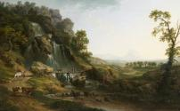 A Landscape with Travellers and Cattle Crossing a Bridge by a Waterfall
