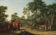 A Bay Horse and Two Donkeys