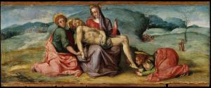 Set of 3 panels: The Pietà, Saint Apollonia and Saint Peter