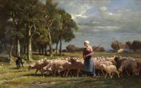 A Shepherdess near a Wood, Barbizon