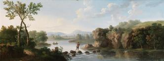 A Landscape with a Man Fording a Stream