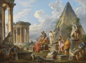 A Capriccio with Saint Paul Preaching to the Romans, with the Temple of Vesta and Pyramid of Caius Cestius