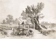 River Scene with Willows and Boy Fishing