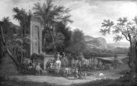 A Landscape with Hunting Party and Fountain